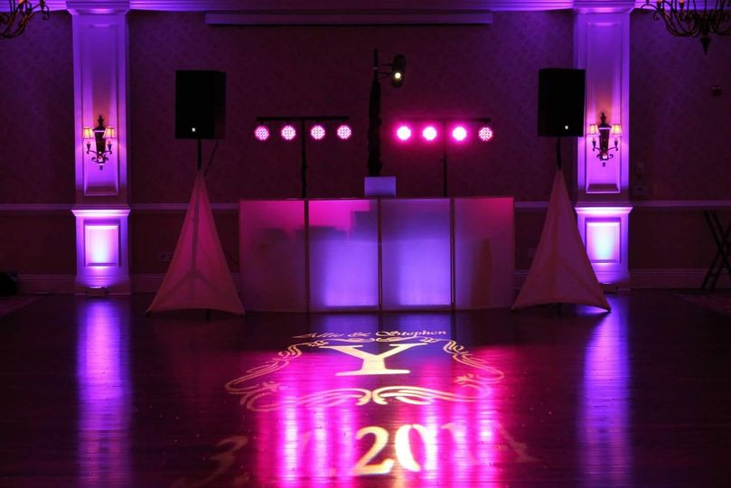 DJ Booth, Up-lighting, Monogram, and Dance-Floor lighting at Rivercrest Phoenixville, PA