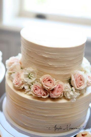 2-tier floral wedding cake