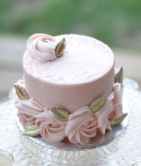 Single tier pink wedding cake