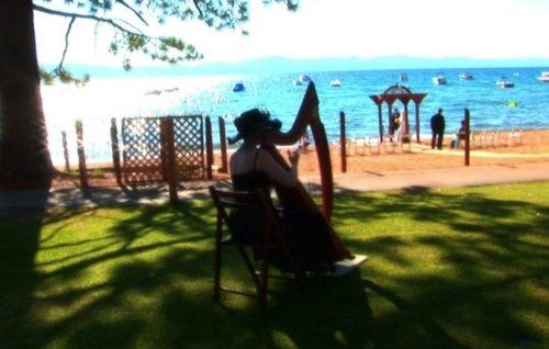 Taken at Zephyr Cove Resort at Lake Tahoe, just after a wedding.