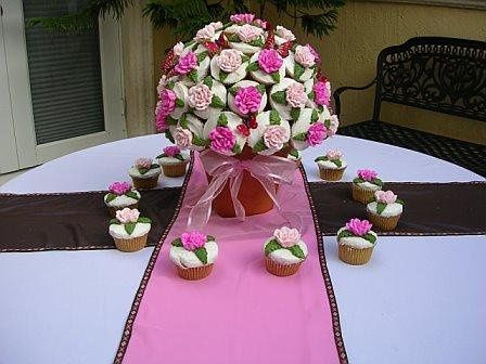 """Cupcake """"cake"""" for a butterfly themed bridal shower."""