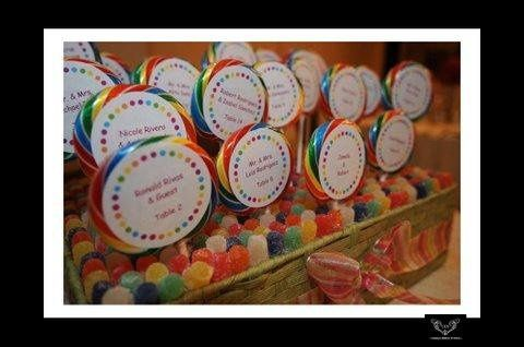 Lollipop placecards for a candy themed bridal shower.  Photo courtesy of Unique Design Studios -...