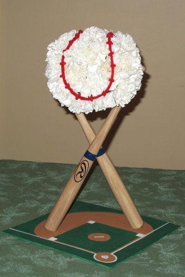Baseball themed centerpiece for couple's bridal shower