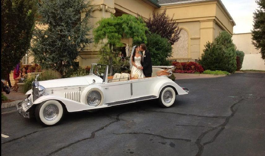 Classic white limousine