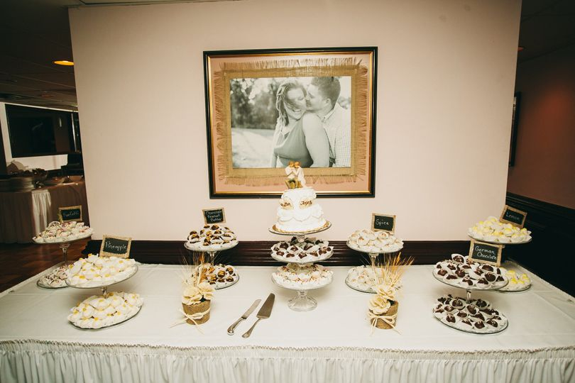 Wedding cake and cupcakes station