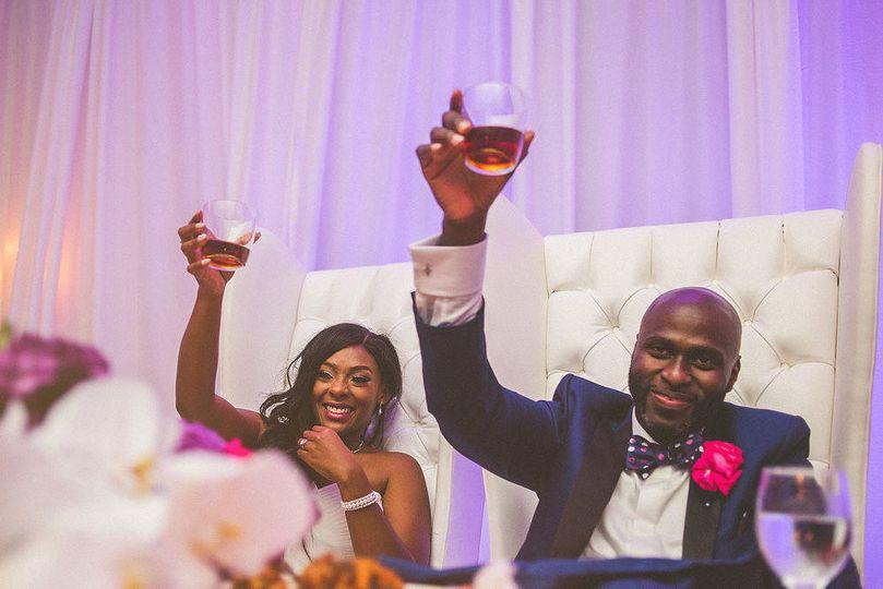 Couple's wine toast