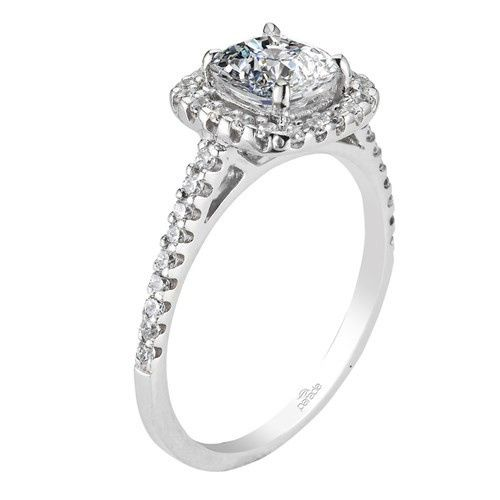 Parade square halo diamond ring