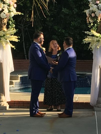 My wonderful LGBT couple in an intimate ceremony at a lovely Los Angeles home.