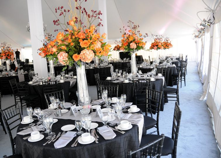 Table setup with lantern centerpiece