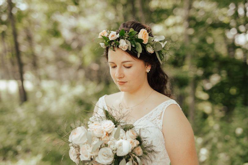 Garden wedding bouquet/crown