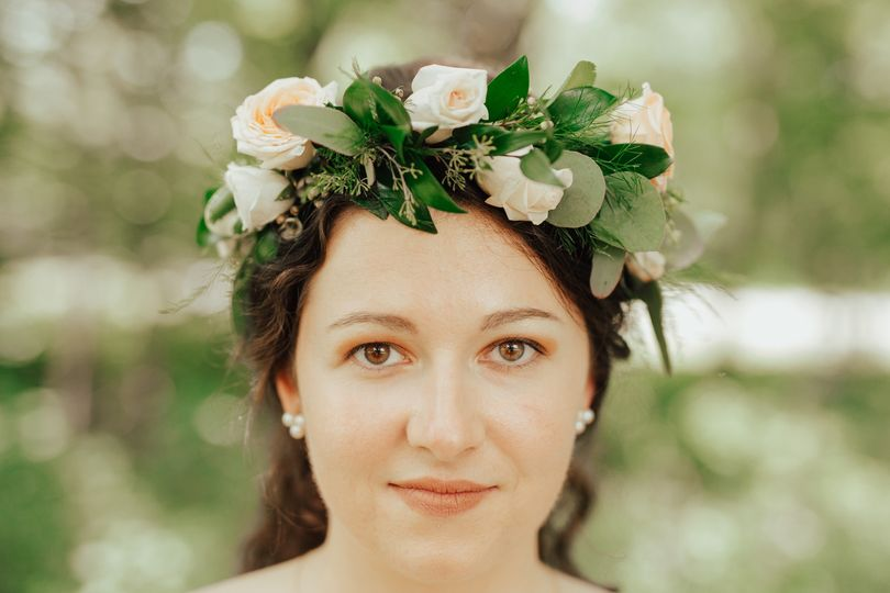 Blush and white flower crown