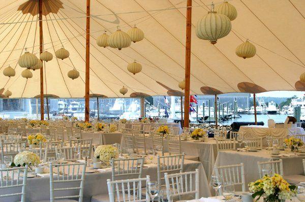 seaside wedding with hanging lanterns