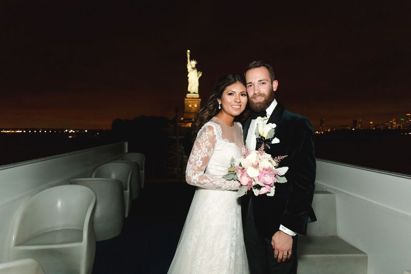 Newlyweds and the city night lights