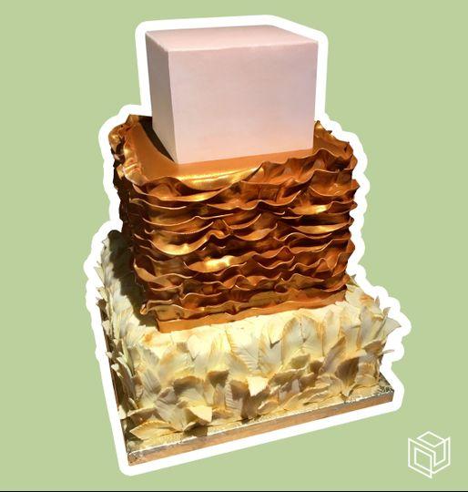 3-tier square wedding cake