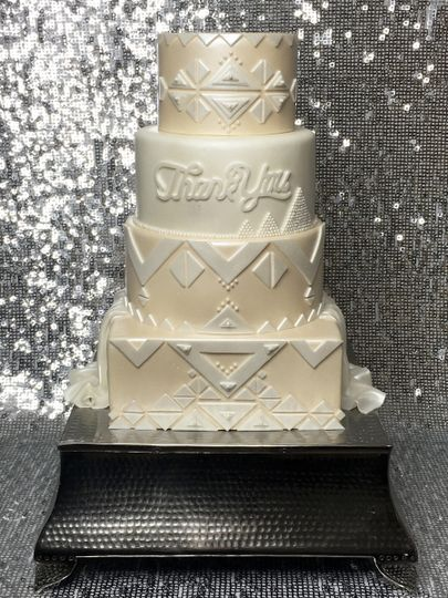 White and ivory fondant with geometric details