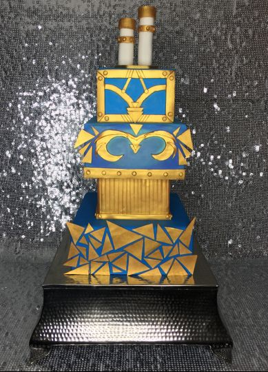 Space robot themed, multi-tiered cake