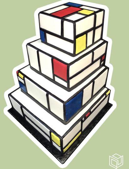4-tier block wedding cake