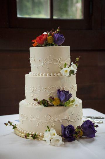 Three tier cake with flowers