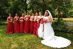 Bridesmaids and bride