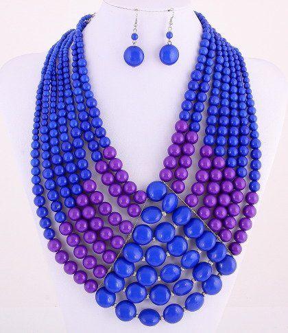 bluepurplebeadnecklaceset