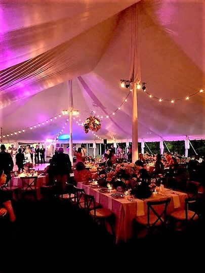 Wedding tents, decor, and lighting