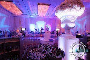 Plaza ballroom decor and uplighting