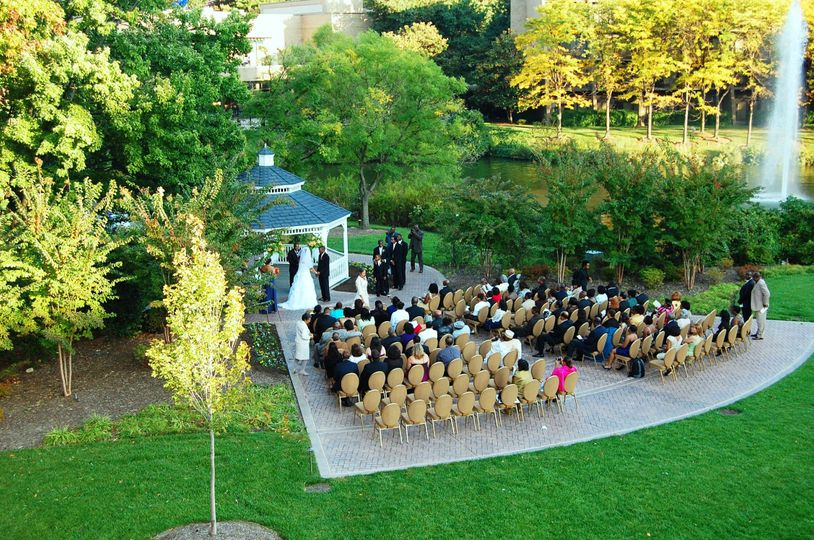 Aerial shot of gazebo ceremony