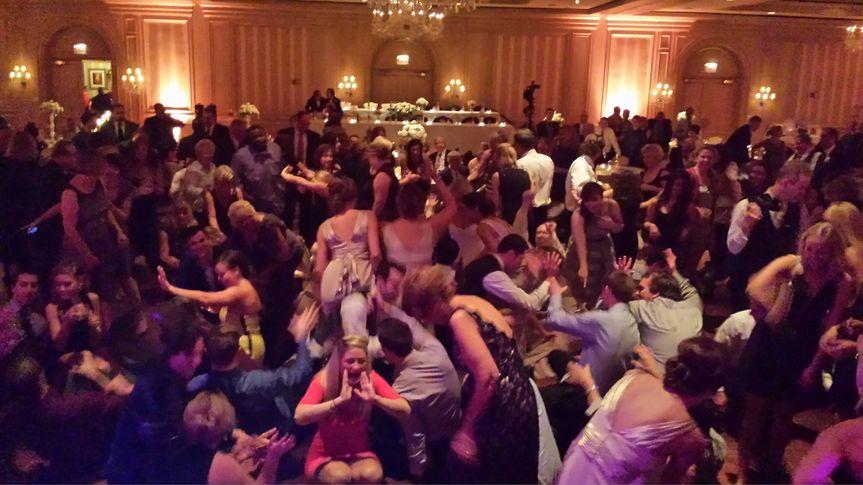 The crowd having fun
