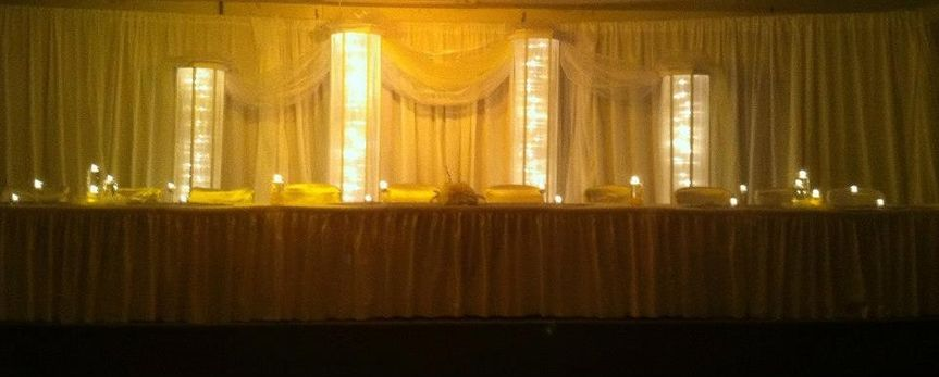 Lighted Columns make a great backdrop behind the head table.