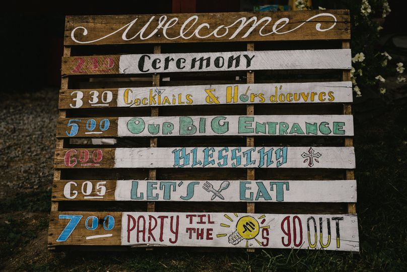Wedding schedule signboard