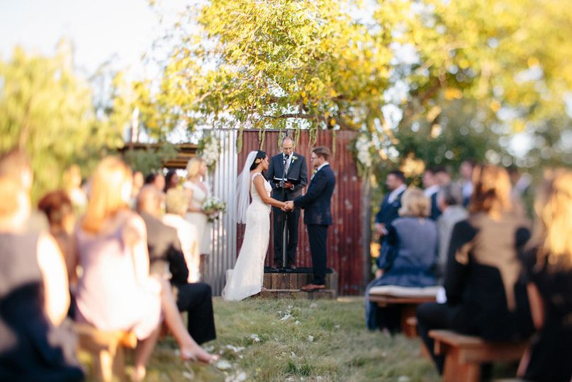 Wedding ceremony in apple meadow