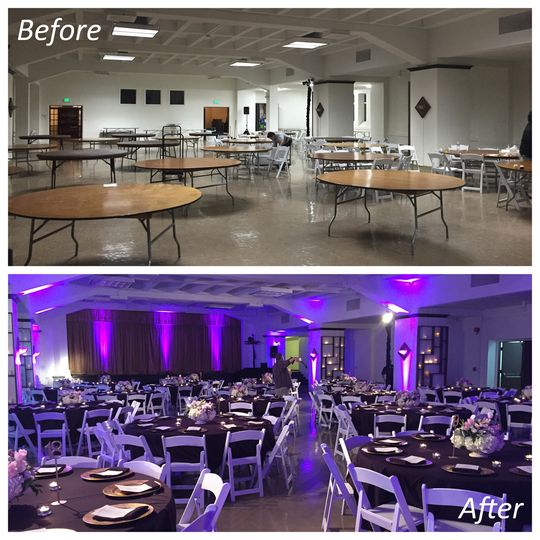 Uplighting before & after