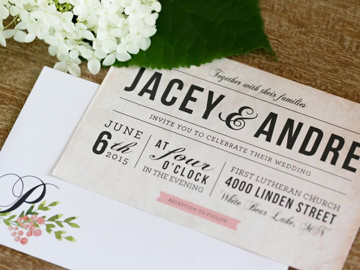 Tmx 1438123254123 Dlvtheinvitationpost31 Forest Lake wedding invitation