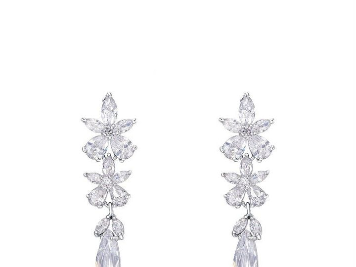 Tmx 1398627955907 Luxury Crystal Flower Drop Bridal Formal Earring Springfield wedding jewelry