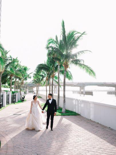 Wedding couple along the water