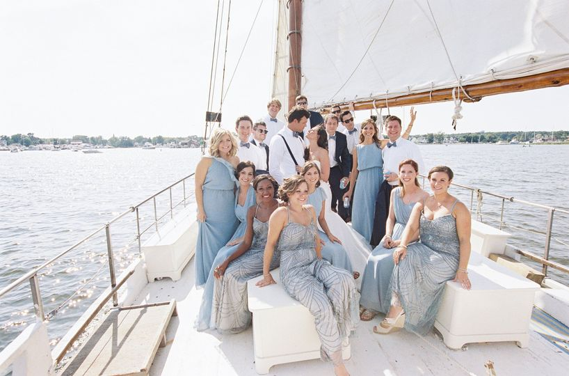 Bridal party sailing