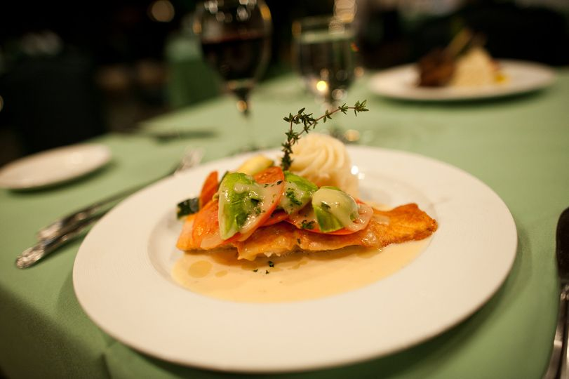 Salmon with Lobster cream sauce, Max Catering