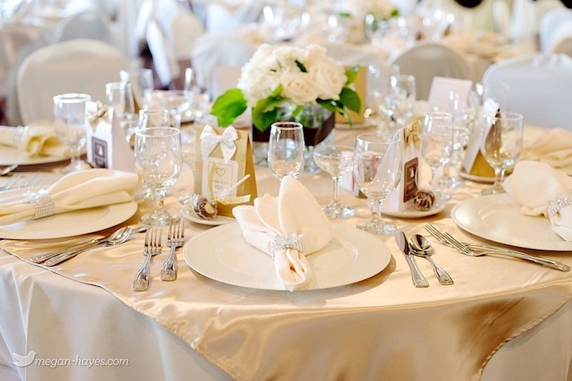 Ivory Satin & White Table Setting. Simple Elegance at Max Catering, Lancaster, Palmdale, Antelope...