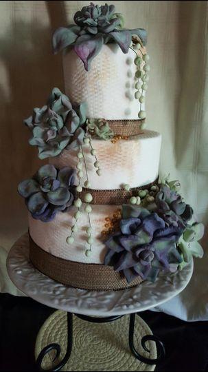 3tier succulent flower cake
