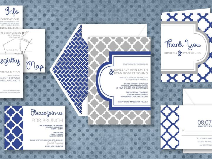Tmx 1424790429941 Boldpatterninvite Holly Springs wedding invitation