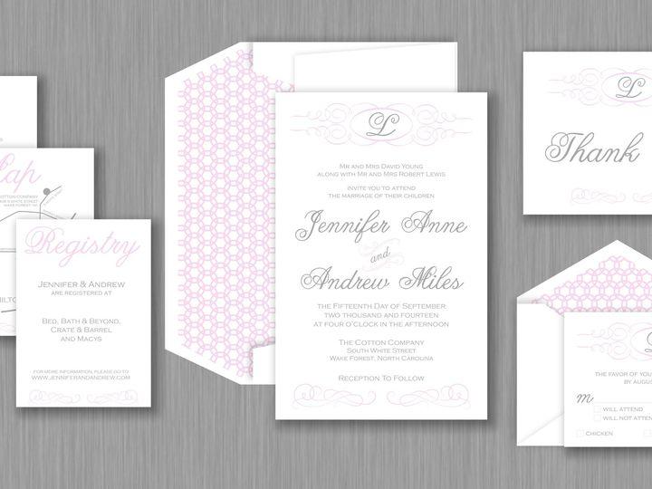 Tmx 1424790580820 Elegantswirlinvitepic Holly Springs wedding invitation