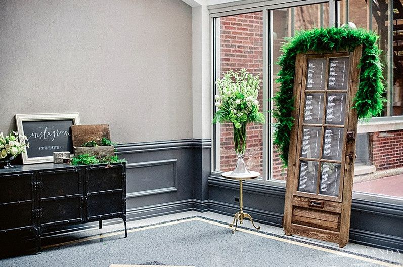 Ivy Room foyer decor for wedding Photo Credit: Amanda Megan Miller Photography...