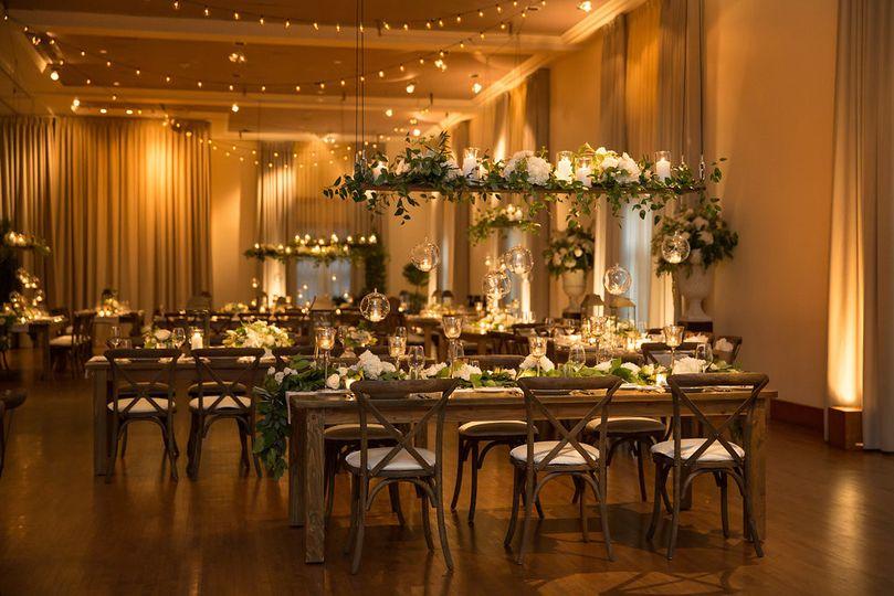 Rustic & Elegant wedding reception decor by HMR Designs Photo by Cristina G. Photography...