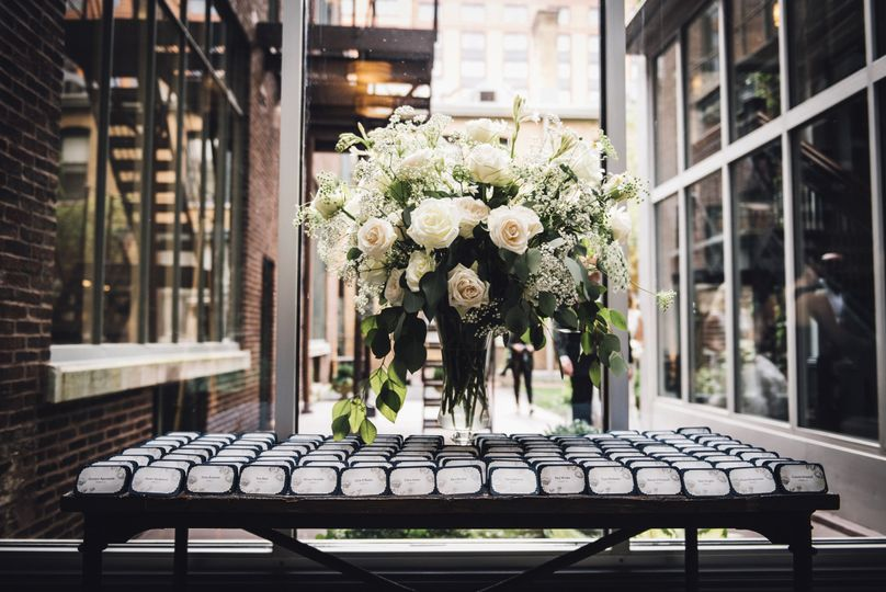 Escort card table in Ivy Room foyer Photo Credit Erin Hoyt Photography...