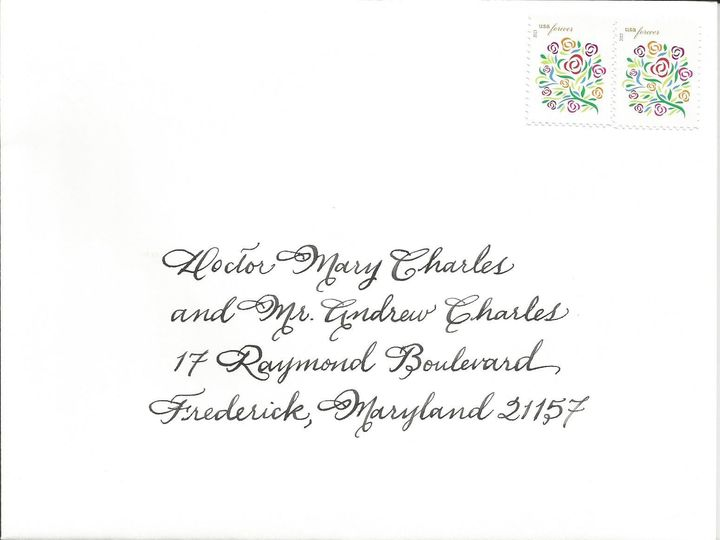 Tmx 1416324367987 Spencerian Envelope Cape Cod, MA wedding invitation