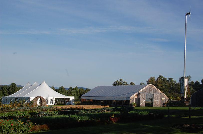 farm wedding with turbine