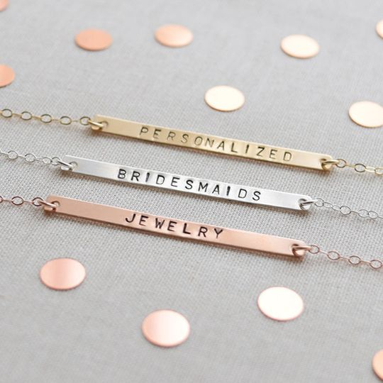 Personalized Name Bar Necklace. Customize with up to 12 characters and symbols. Hand stamped in rose...