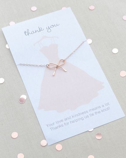 Petite handmade Bow Necklace makes a special Bridesmaid gift. Thank You card is included! Bow...