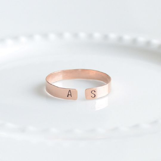 Handmade Initial Ring. This unique adjustable ring is hand stamped on rose gold, silver or gold.