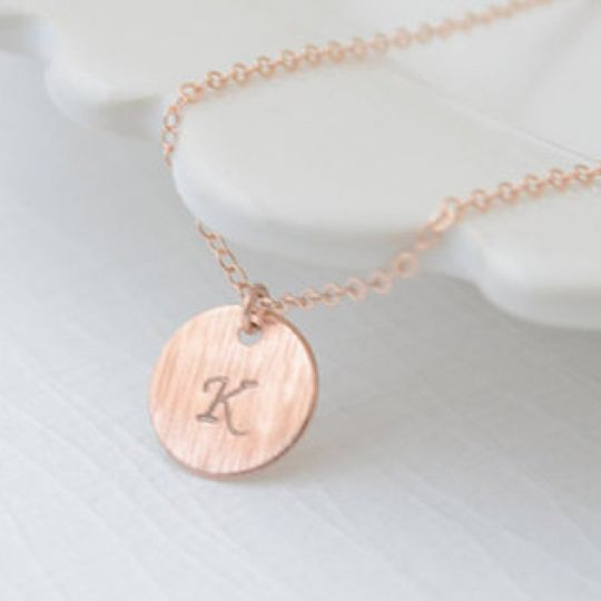 Dainty Initial Disk Necklace. Disk is available in rose gold, silver, brass or copper. Hand stamped...